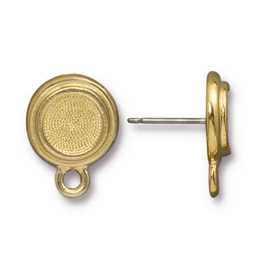 Stepped Bezel Earring Post, Gold Plate, 10 per Pack
