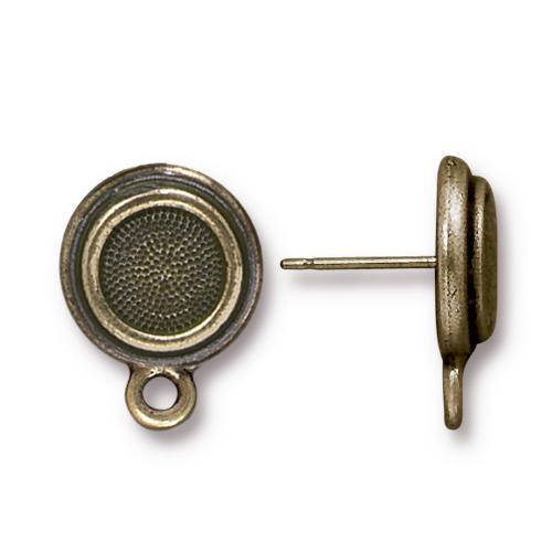 Stepped Bezel Earring Post, Oxidized Brass Plate, 10 per Pack
