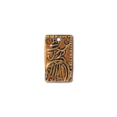 Nisshu Charm, Antiqued Gold Plate, 20 per Pack