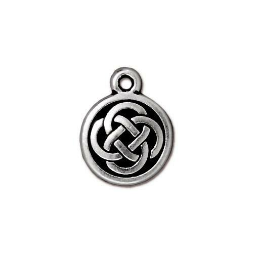 Celtic Round Charm, Antiqued Silver Plate, 20 per Pack
