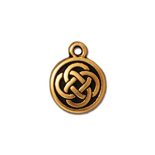 Celtic Round Charm, Antiqued Gold Plate, 20 per Pack