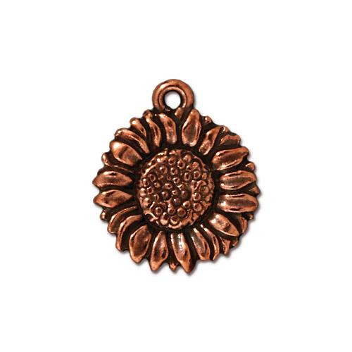 Sunflower Charm, Antiqued Copper Plate, 20 per Pack