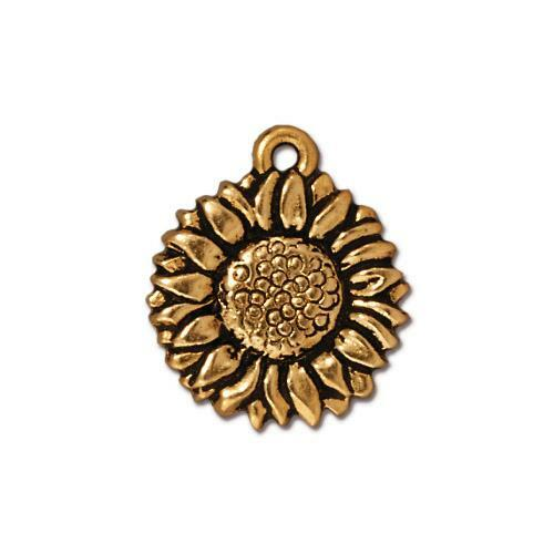 Sunflower Charm, Antiqued Gold Plate, 20 per Pack