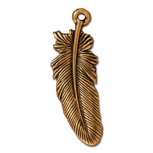 Feather Charm 1.2 inch length, Antiqued Gold Plate, 20 per Pack