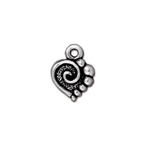 Spiral Heart Charm, Antiqued Silver Plate, 20 per Pack