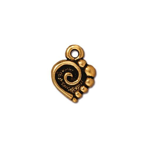Spiral Heart Charm, Antiqued Gold Plate, 20 per Pack