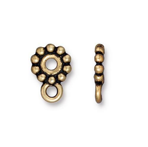 Beaded Spacer Bead 10mm with loop, Antiqued Gold Plate, 20 per Pack