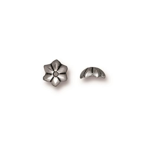 Talavera Star 5mm Bead Cap, Antiqued Silver Plate, 100 per Pack