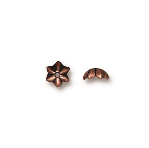 Talavera Star 5mm Bead Cap, Antiqued Copper Plate, 100 per Pack