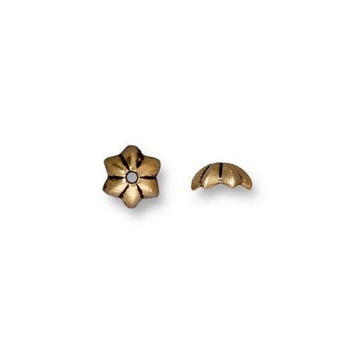 Talavera Star 5mm Bead Cap, Antiqued Gold Plate, 100 per Pack