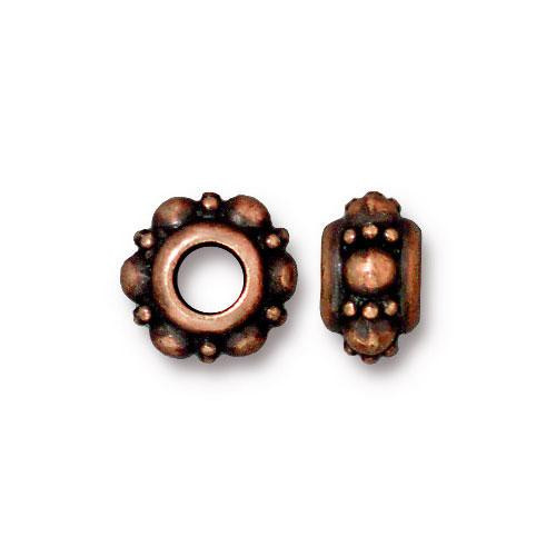 Turkish Euro Bead, Antiqued Copper Plate, 20 per Pack