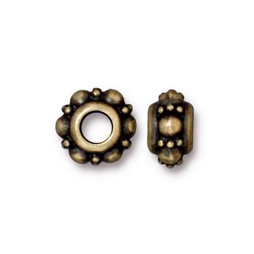 Turkish Euro Bead, Oxidized Brass Plate, 20 per Pack