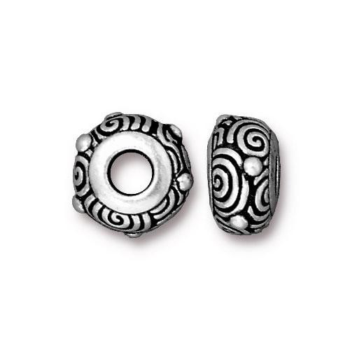 Spiral Euro Bead, Antiqued Silver Plate, 20 per Pack