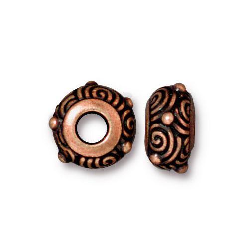 Spiral Euro Bead, Antiqued Copper Plate, 20 per Pack