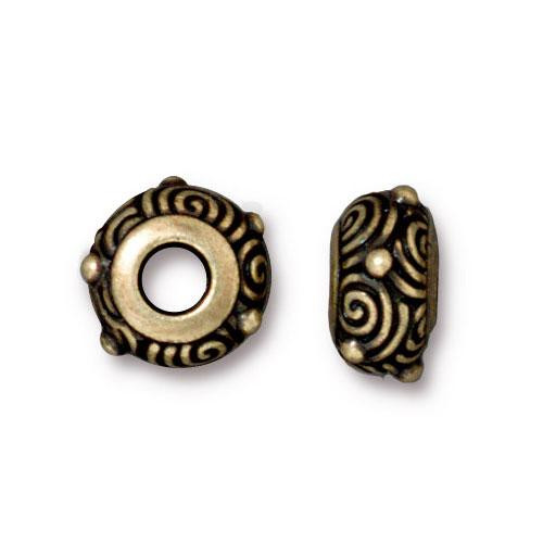 Spiral Euro Bead, Oxidized Brass Plate, 20 per Pack