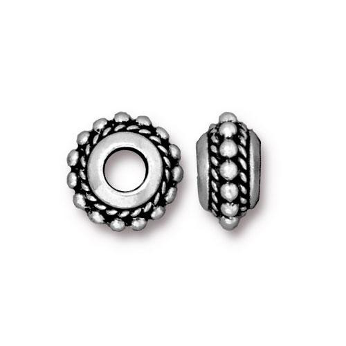 Beaded Twist Euro Bead, Antiqued Silver Plate, 20 per Pack