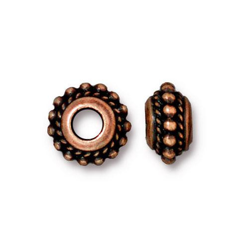 Beaded Twist Euro Bead, Antiqued Copper Plate, 20 per Pack