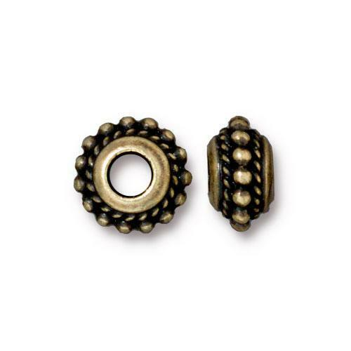 Beaded Twist Euro Bead, Oxidized Brass Plate, 20 per Pack