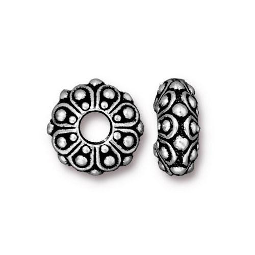 Casbah Euro Bead, Antiqued Silver Plate, 20 per Pack