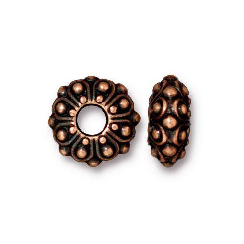 Casbah Euro Bead, Antiqued Copper Plate, 20 per Pack