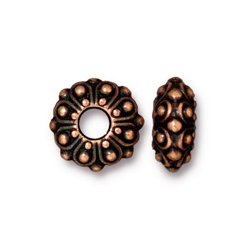 Casbah Euro Bead, Antiqued Copper Plate, 20 per Pack