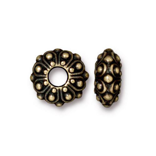 Casbah Euro Bead, Oxidized Brass Plate, 20 per Pack