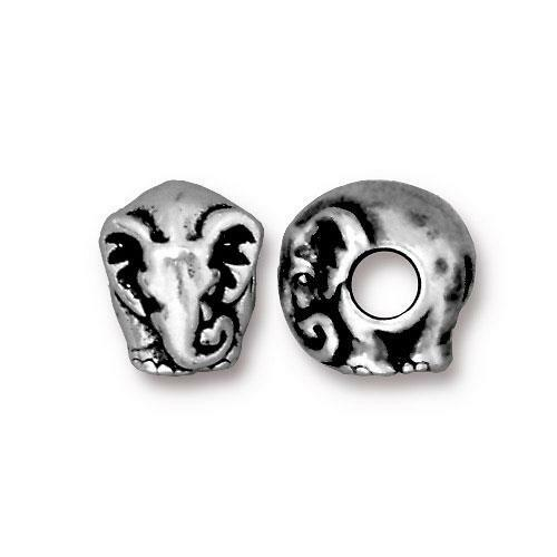 Elephant Euro Bead, Antiqued Silver Plate, 20 per Pack