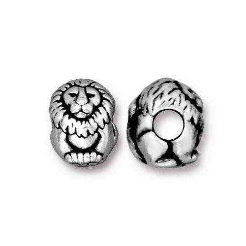 Lion Euro Bead, Antiqued Silver Plate, 20 per Pack
