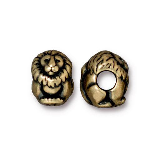 Lion Euro Bead, Oxidized Brass Plate, 20 per Pack