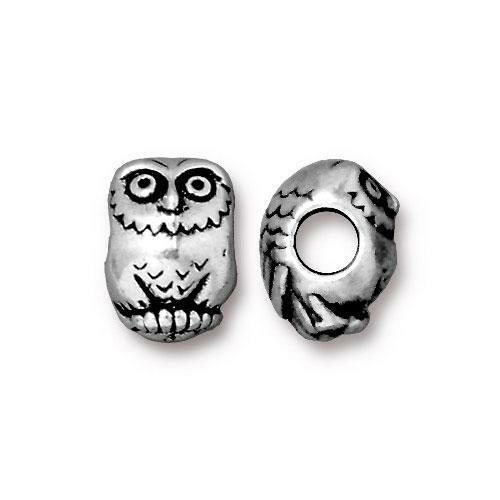 Owl Euro Bead, Antiqued Silver Plate, 20 per Pack