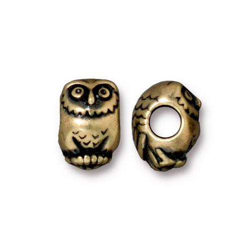 Owl Euro Bead, Oxidized Brass Plate, 20 per Pack