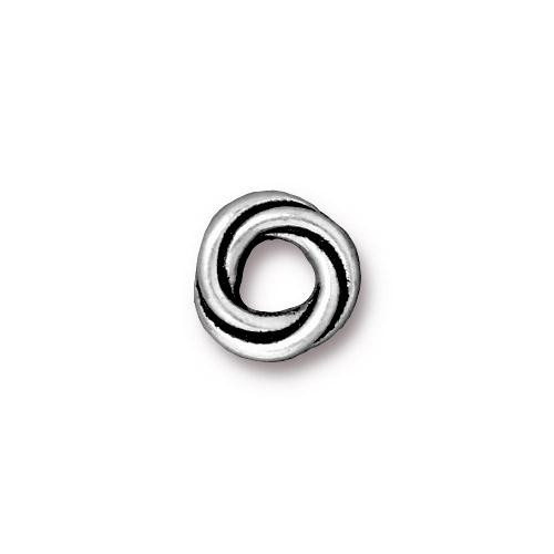 Twisted 10mm Spacer Bead, Antiqued Silver Plate, 20 per Pack
