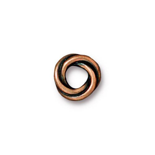 Twisted 10mm Spacer Bead, Antiqued Copper Plate, 20 per Pack