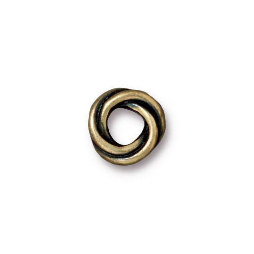 Twisted 10mm Spacer Bead, Oxidized Brass Plate, 20 per Pack