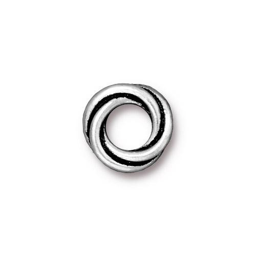 Twisted 12mm Spacer Bead, Antiqued Silver Plate, 20 per Pack