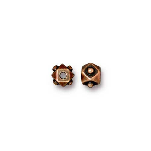 Faceted 4mm Cube Bead, Antiqued Copper Plate, 100 per Pack