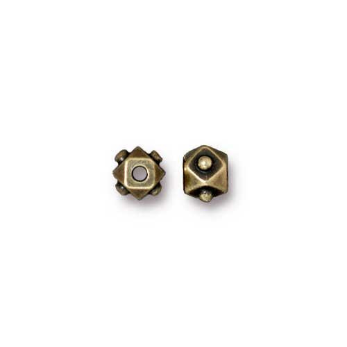Faceted 4mm Cube Bead, Oxidized Brass Plate, 100 per Pack