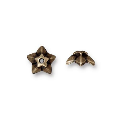 Clearance: Star 8mm Bead Cap, Oxidized Brass Plate, 20 per Pack