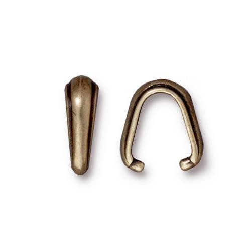 Nouveau Pinch Bail, Oxidized Brass Plate, 20 per Pack