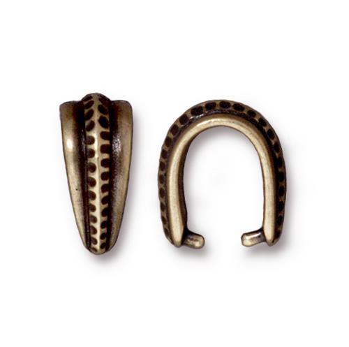 Large Hammertone Pinch Bail, Oxidized Brass Plate, 20 per Pack