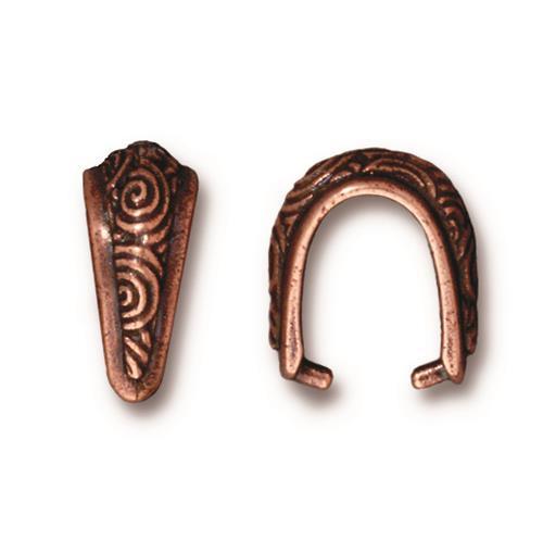 Spiral Pinch Bail, Antiqued Copper Plate, 20 per Pack