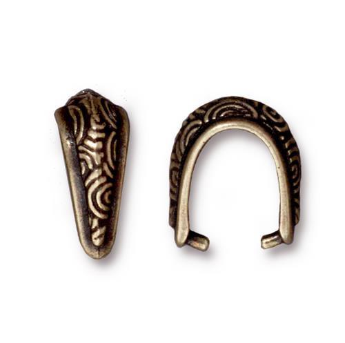 Spiral Pinch Bail, Oxidized Brass Plate, 20 per Pack
