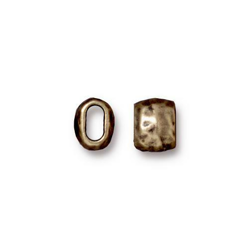 Distressed 4x2mm Barrel Bead, Oxidized Brass Plate, 20 per Pack