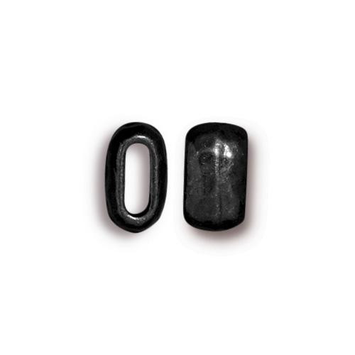 Distressed 6x2mm Barrel Bead, Black Plate, 20 per Pack