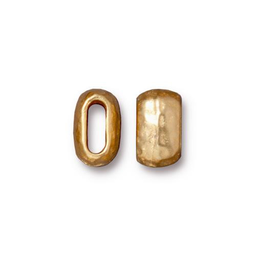 Distressed 6x2mm Barrel Bead, Gold Plate, 20 per Pack