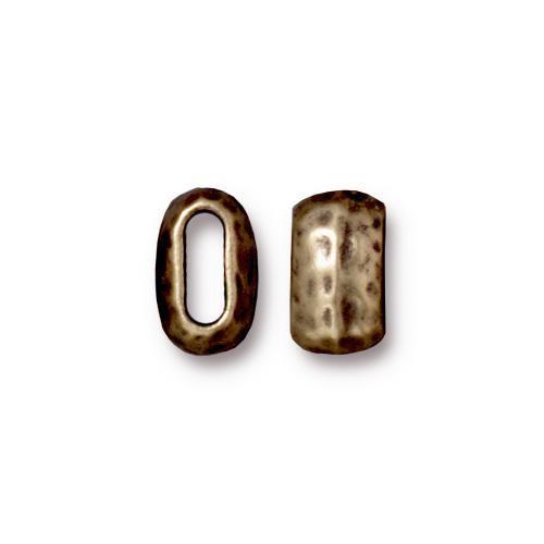 Distressed 6x2mm Barrel Bead, Oxidized Brass Plate, 20 per Pack