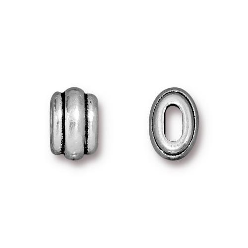 Deco 4x2mm Barrel Bead, Antiqued Silver Plate, 20 per Pack