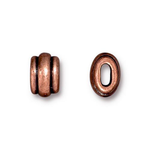 Deco 4x2mm Barrel Bead, Antiqued Copper Plate, 20 per Pack