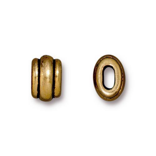 Deco 4x2mm Barrel Bead, Antiqued Gold Plate, 20 per Pack