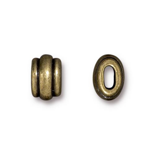 Deco 4x2mm Barrel Bead, Oxidized Brass Plate, 20 per Pack